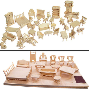 Miniatuur 1:12 Poppenhuis Meubels Voor Poppen, Mini 3D Houten Puzzel Diy Gebouw Model Speelgoed Voor Kinderen Gift(China)