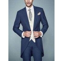 New Style Men's Wedding Tailcoats Bridegroom Suits Groom Tuxedos Best Men's Suit Set (Top + Pants + Vest)