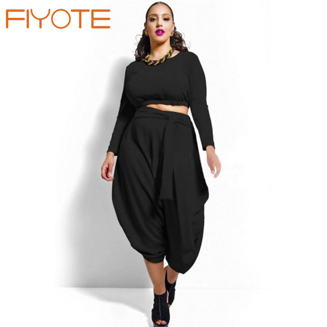 e1801105439 FIYOTE 4 Colors White Red Black Olive Plus Size Crop Top Draped Convertible  Pants Set LC60591 Fashion Woman Plus Clothing Set