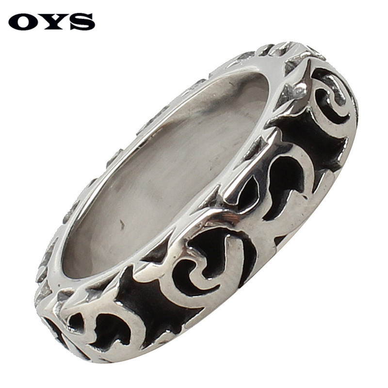 6mm 316L Stainless Steel New Retro Simple Silver Black Color Kroll Ring Fashion Style Men Ring Anniversary Fine Jewelry