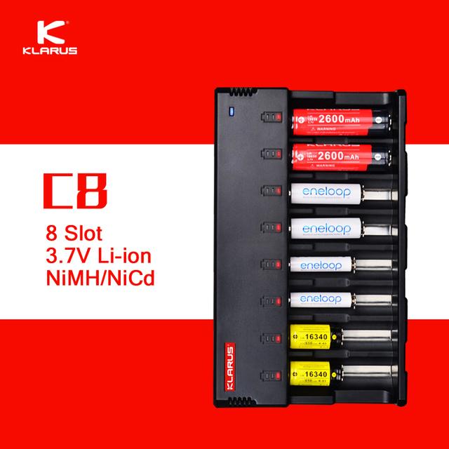 Klarus Original C8 8 Slot de Carregador de Bateria Inteligente com 5 V USB função de banco de potência de saída para c aa aaa 18650 26650 14500 etc.