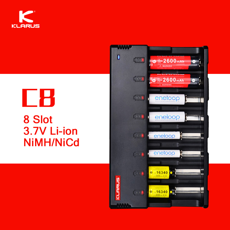 Original Klarus C8 8 Slot Intelligent Battery Charger with 5V USB Output Power Bank Function for C AA AAA 18650 26650 14500 etc.