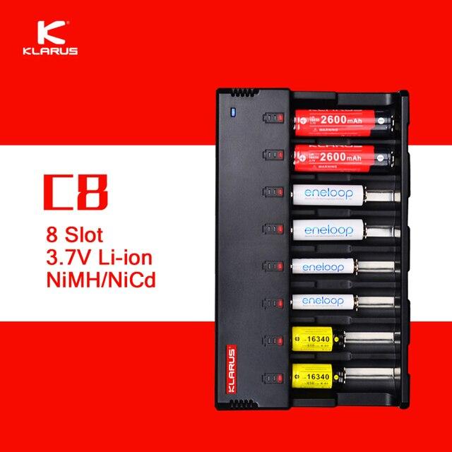 Original klarus C8 8 ranura cargador de batería inteligente con 5 V salida USB Baterías portátiles función para C AA AAA 18650 26650 14500 etc.