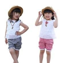 Summer time model child ladies garments set short-sleeved swimsuit 2017 child ladies little one informal sport tops+brief stripe pants clothes set