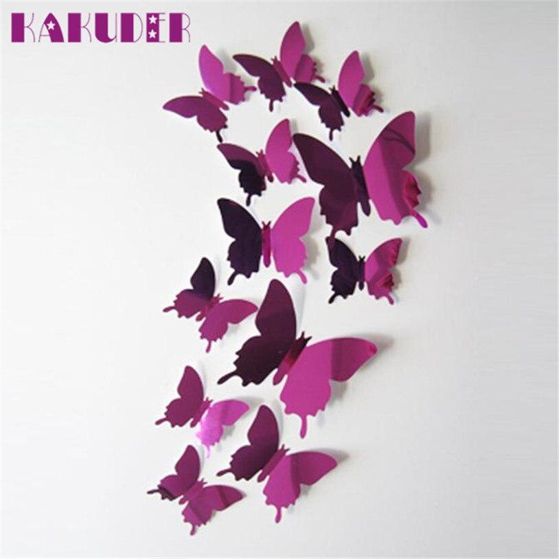 Wall Stickers Decal Butterflies 3D Mirror Wall Art Home Decors Free Shipping adesivo de parede DROP SHIP