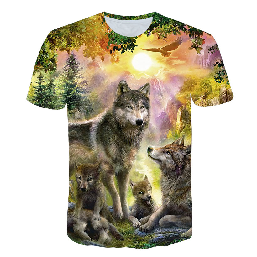 2019 Newest Wolf 3D Print Animal Cool Funny T-Shirt Men Short Sleeve Summer Tops Male T Shirt Fashion Breathable With Short