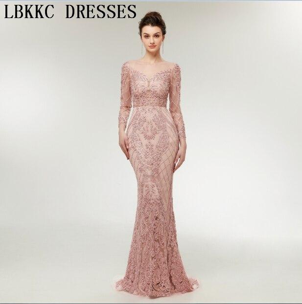 Robe De soirée Longue 2018 Nude rose manches longues robes De soirée sirène lourd à la main coudre perles Abiye Gece Elbisesi Robe De soirée