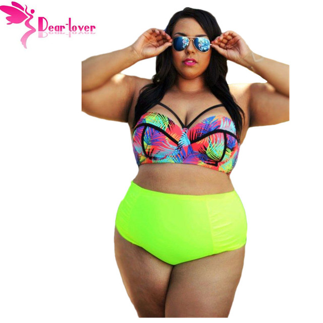 cabf4c0df7 DearLover Large Big 5XL Curvy Girl Tropical Style High Waist Bathing Suit  Plus Size Two Pieces Bikini Swimsuit for Women LC41712-in Women's Sets from  ...
