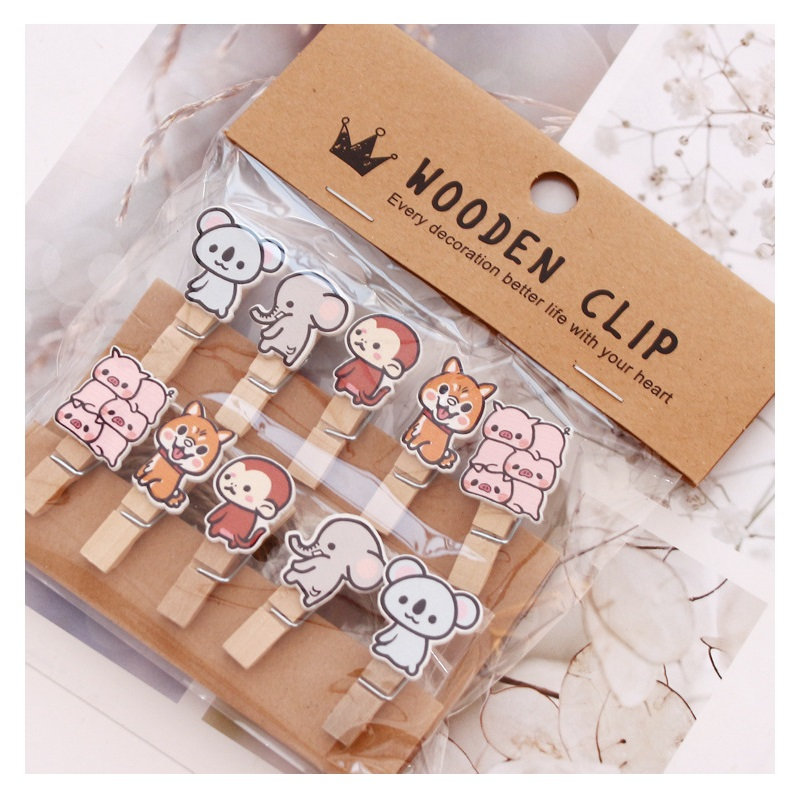 10 Pcs/Set Cute Cat Forest Animals Wooden Clip Photo Paper Clothespin Craft Clips Party Decoration Clip With Hemp Rope
