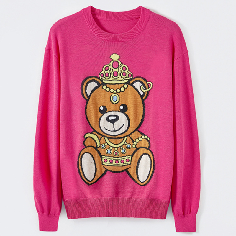 Factory Price High Quality European American Casual Style O-neck Long Sleeve Sweet Carton Knitting Embroidery Sweater
