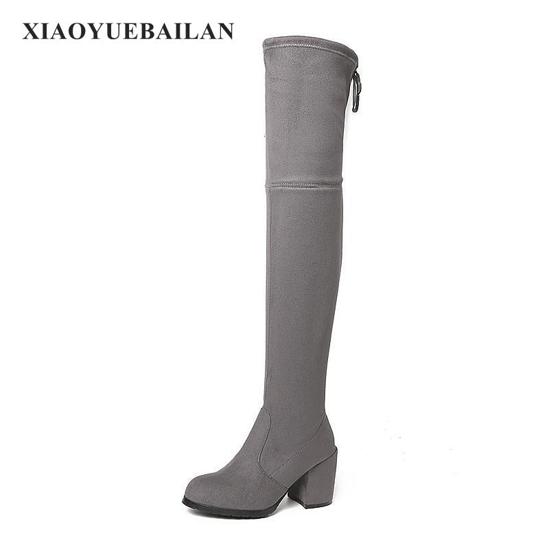 2017 New High-heeled Shoes Boots Rough Thigh Comfortable All-match Warm Increased Significantly