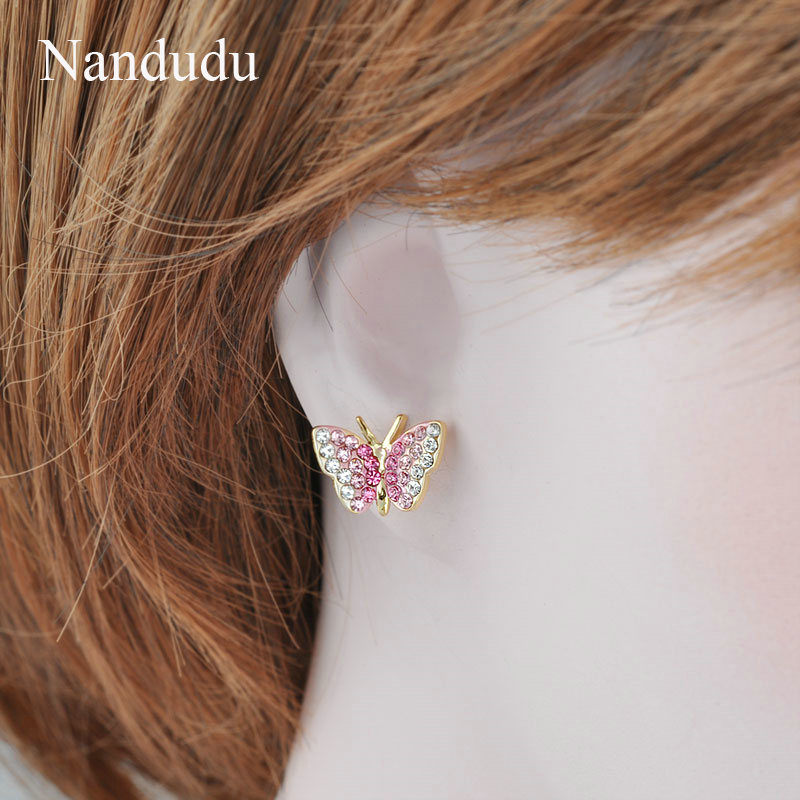 Nandudu Rose Gold Farbe Rosa Kristall Schmetterling Modeschmuck Set - Modeschmuck - Foto 5