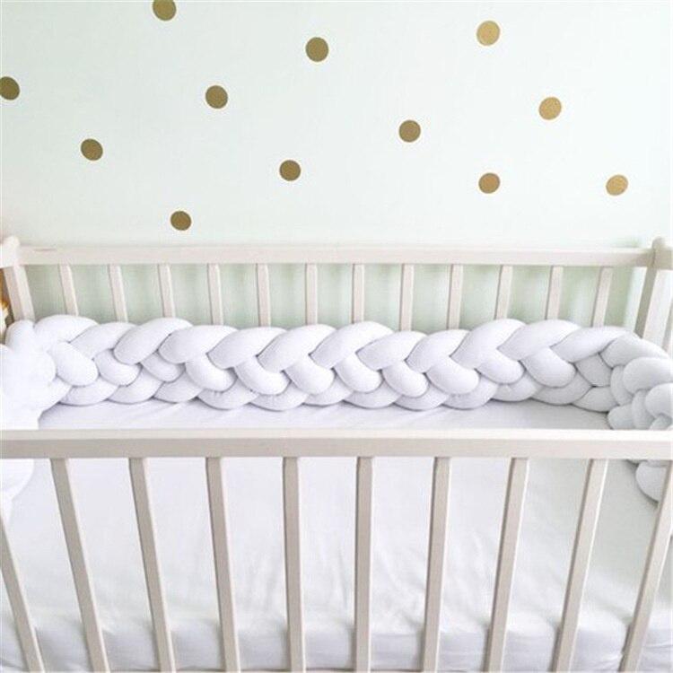 4 веревки Длина 200 см узелки мягкая подушка с узлом декоративные детские постельные принадлежности простыни плетеная кроватка бампер узел подушка - Цвет: white