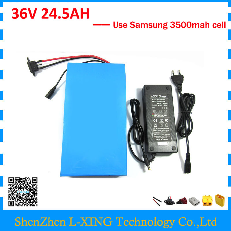 EU US free tax 36V 24.5AH electric bike battery 36 V 25AH lithium battery use Samsung 3500mah cell 50A BMS 2A Charger free customs duty 36v 28ah battery pack 1500w 36 v lithium battery 28ah use samsung 3500mah cell 50a bms with 2a charger