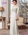 Liyuke Glamorous Decote Colher Chiffon do Assoalho-comprimento da Bainha Mãe do Vestido de Noiva Bordado Com Cercadura Applique Mangas Meia