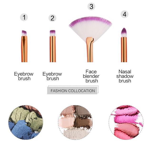 4pcs Eyeshadow Makeup Brush Set Diamond Shape Rainbow Rose Gold Purple Makeup Brushes Cosmetics Beauty Make Up Brush 6 Colors
