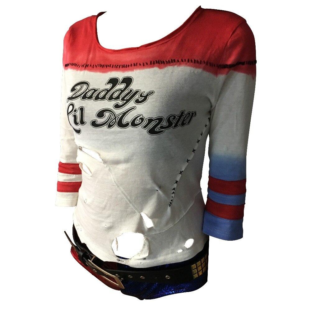 Batman arkham asylum city 2016 suicide squad harley quinn costume t shirt daddy's lil monster t-shirt joker cosplay costumes-1
