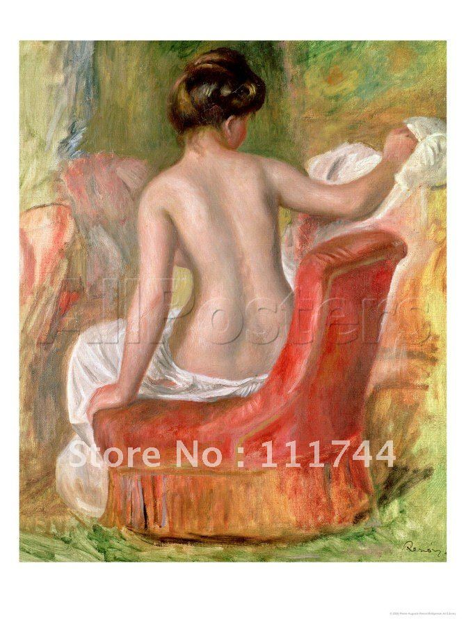 Naked Painting modern <font><b>Nude</b></font> <font><b>in</b></font> <font><b>an</b></font> <font><b>Armchair</b></font> <font><b>1900</b></font> by Pierre Auguste Renoir Canvas Art 100%handmade High quality free shipping