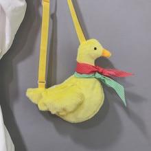 2019 Cartoon 3D Cute Cartoon Handbag Sweeping Duck Bag Plush Crossbody Bag Fashion Casual Mini Shoulder Bag For Girl Kid Hot