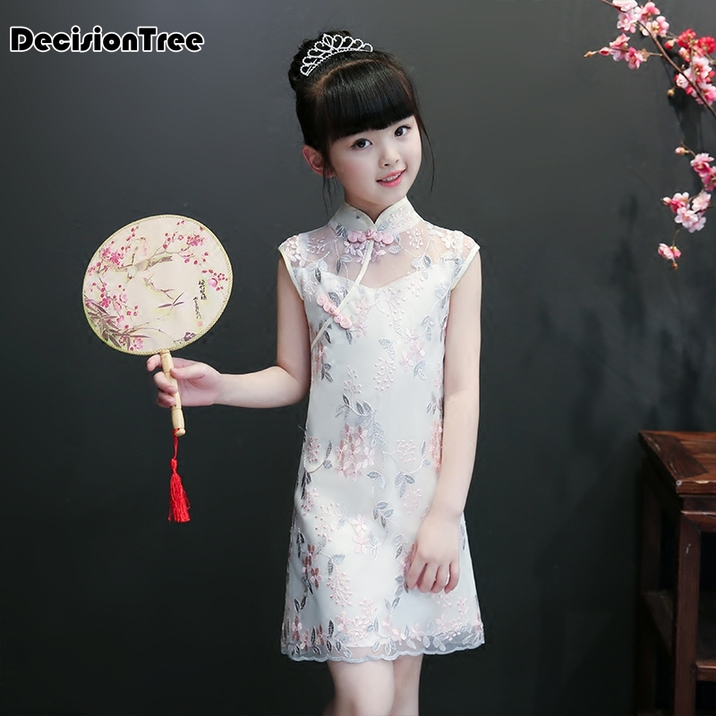 2019 new fancy girls embrodeiry floral chiffon qipao kids chinese traditional flower chi-pao girls formal cheongsam dresses