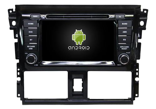 Android 8.1 quad core lecteur dvd de voiture médias stéréo radio gps wifi carplay headunit pour TOYOTA YARIS VIOS 2014 avec lumière verte