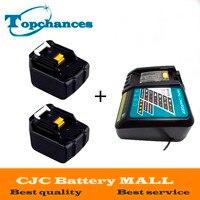 Высокое качество 2 шт. 3000 мАч 14.4 В литий ионный Батарея для Makita сверла 194065 3 bl1415 BL1430 met1821 lxph02 Батарея + зарядное устройство