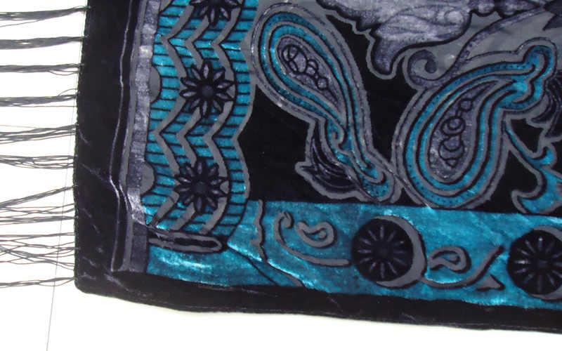 Высокое качество зеленый кешью шелковый шарф шаль для женщин Элитный бренд вельветовые шарфы зима Мягкий пашмины модные длинные обёрточная