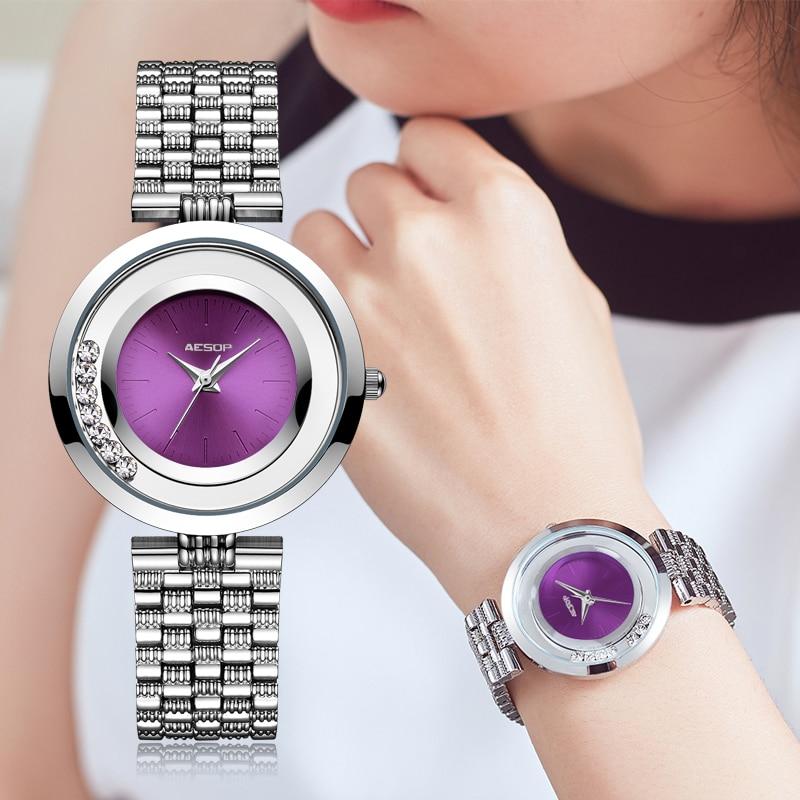 AESOP Purple Fashion Women Watch Elegant Quartz Wristwatch Simple Thin Ladies Clock Waterproof Relogio Feminino Montre Saati