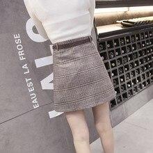 2017 New Autumn Skirts Womens Fashion Plaid Skirt Femme Single Breaste Faldas Female Casual Brown Gray Xadrez Women Skirt