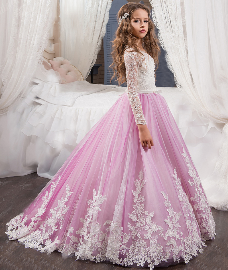 Vestidos De Flores Lilac Long Sleeves Lace Formal Party   Dress     Flower     Girls     Dress   Kids Wedding Evening Clothing Primera Comunion