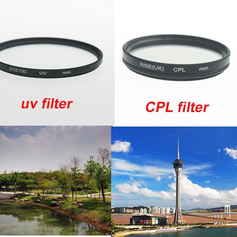 RISE (royaume-uni) 55mm filtre UV ultra-violet + polarisant circulaire CPL C-PL 55mm filtre d'objectif pour Canon Nikon Sony objectif d'appareil photo
