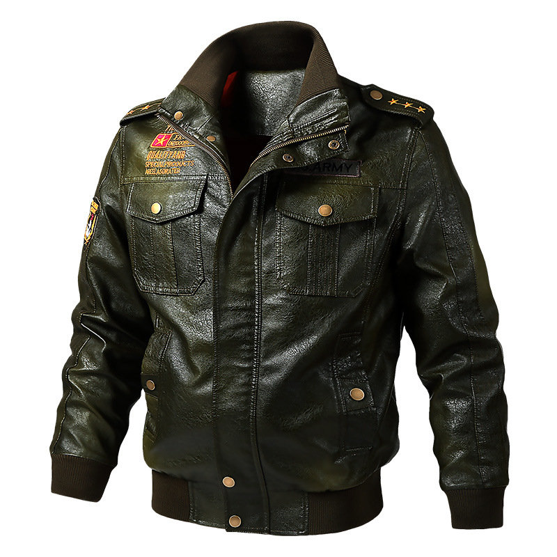 Image 3 - Winter Leather jacket Coat Winter Warm Leather Outerwear Zipper PU Bomber Jacket Stand Collar Motorcycle Harajuku Streetwear Hot-in Faux Leather Coats from Men's Clothing