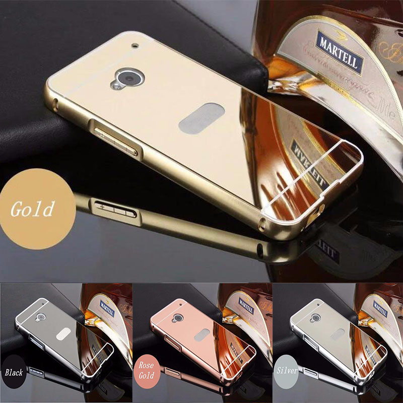 Luxury Rose Gold Mirror Case For HTC One M7 Phone Back Cover For HTC M7 Cases