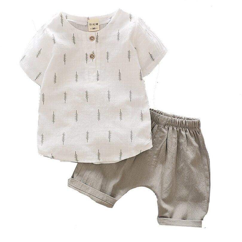 Детская одежда летние хлопковые льняные Комплекты для мальчиков Футболки + шорты для маленьких мальчиков девочек Костюмы для маленьких мальчиков младенческой малыша От 0 до 4 лет