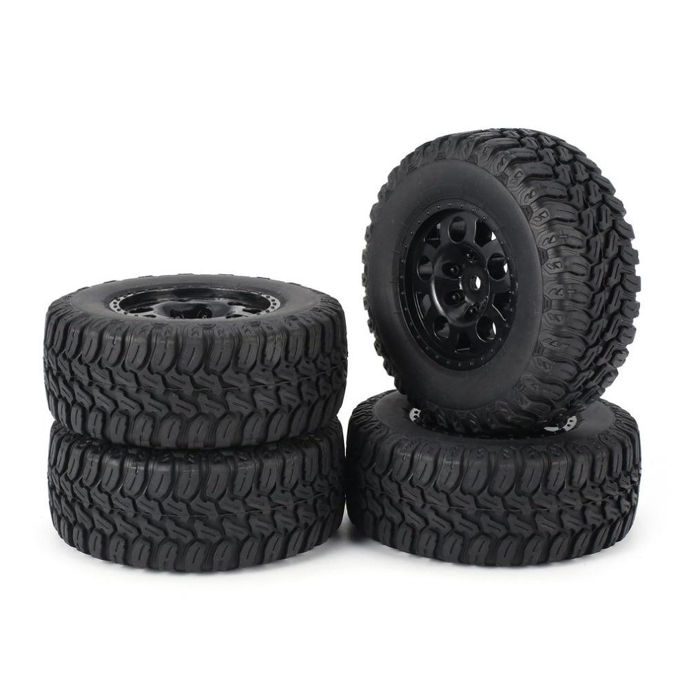 AUSTAR 4pcs Wheel AX 3005/ 3006 1:10 Rim Rubber Tyre Tire Plastic Hub Beadlock for RC Short Off road Truck HSP HPI Drop Shipping