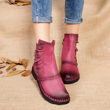2017 autumn and winter new plus velvet thick women's boots soft bottom comfortable breathable mother shoes wild leather