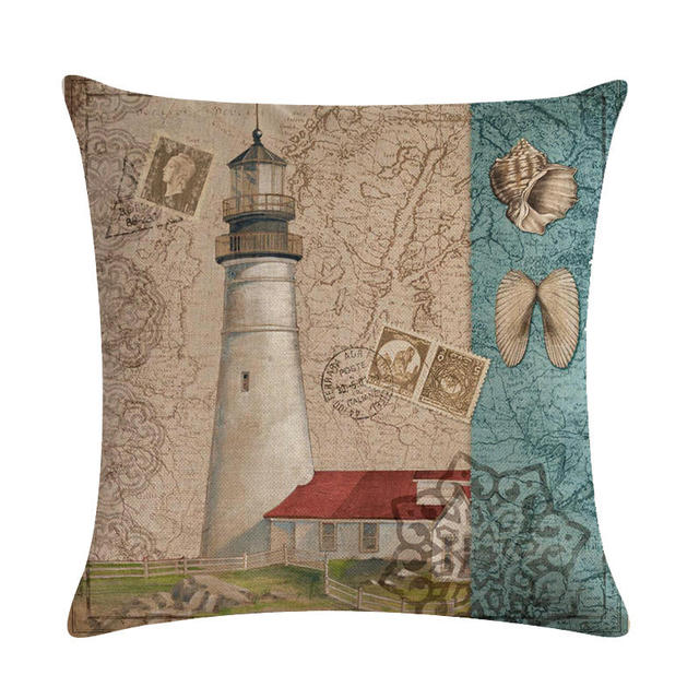 Lighthouse Print Linen Cushion Cover 4