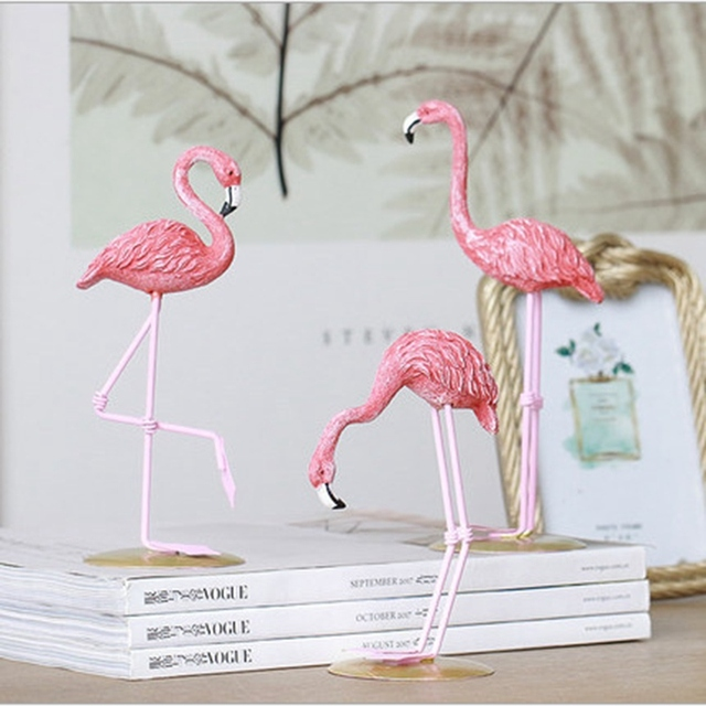 Runsheng High Quality Resin Pink Flamingo Stand Model Bird For Home Decoration Accessories Sculpture Figurine Gifts Wy003