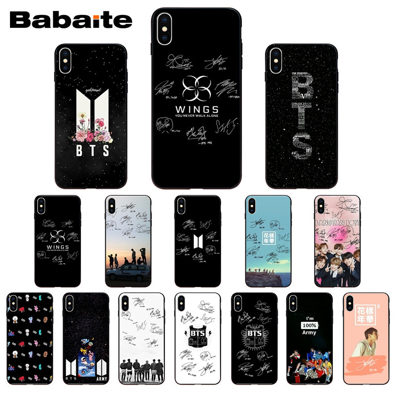 KPOP BTS Signature Soft Silicone TPU Phone Cover case for iphone X XS MAX 5 6S SE 7 8 plus XR Mobile Cases Babaite
