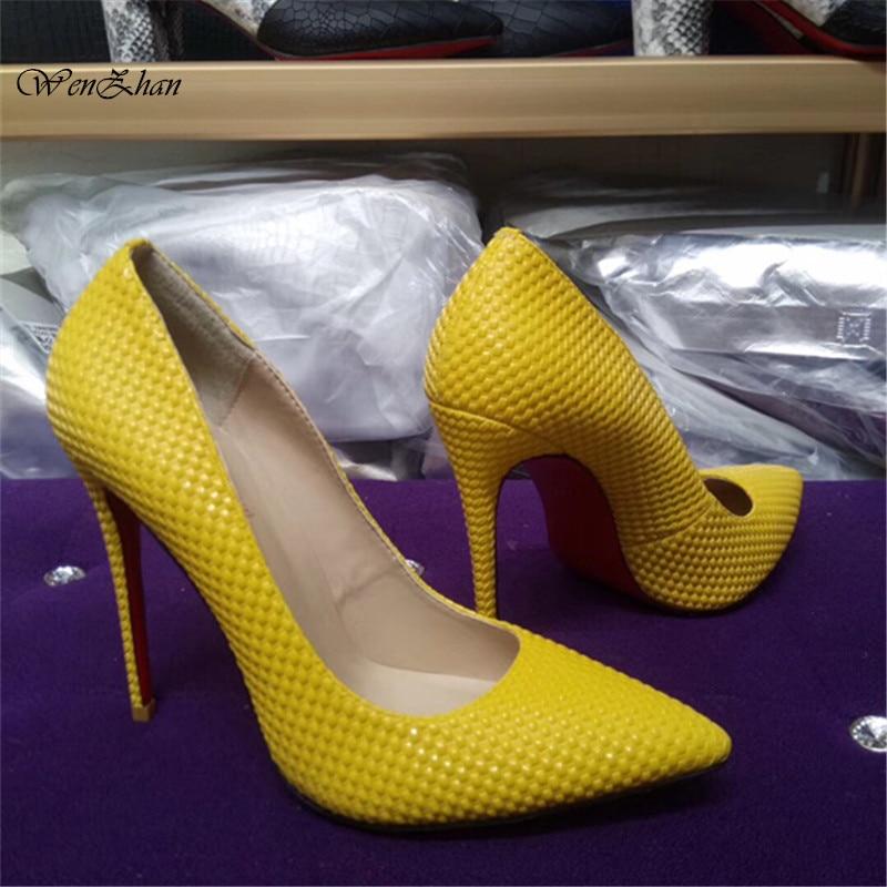 패션 가죽 여성 신발 노란색 하이힐 결혼식 파티 펌프 지적 발가락 얇은 뒤꿈치 zapatos mujer 섹시한 stilettos A93 21-에서여성용 펌프부터 신발 의  그룹 1