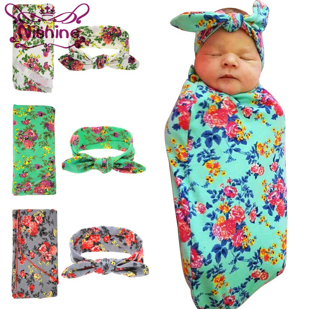 Infant swaddle set Newborn top bowknot hat Wild Flower photo prop Hospital  set baby boy girl Topknot ... ce7f7cb24774