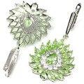 Drop Big Green Tsavorite Garnet, White CZ SheCrown Wedding Party Created  Silver Earrings 55x28mm