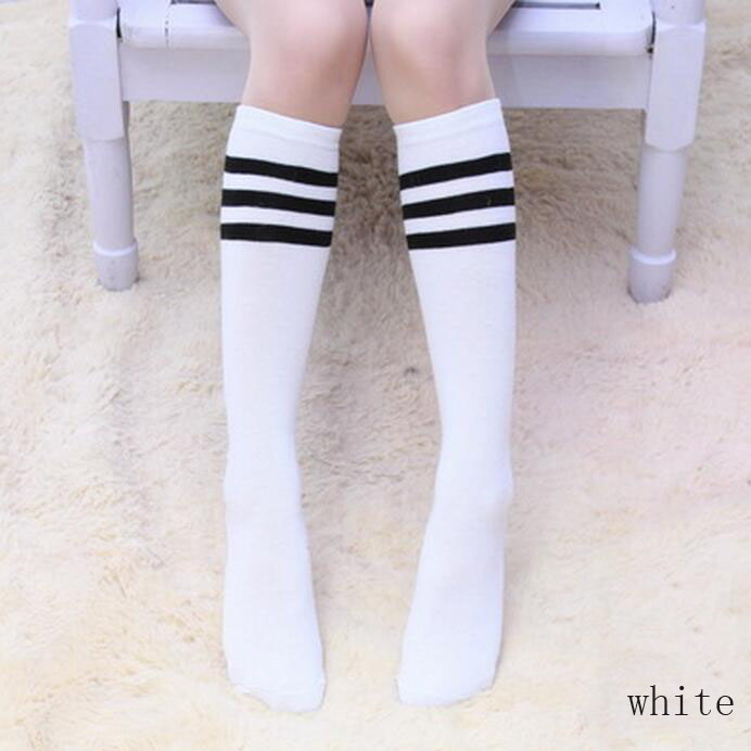 Toddler Kid Girls Knee High Long Socks Striped Cotton School Stocking 3-12 Years