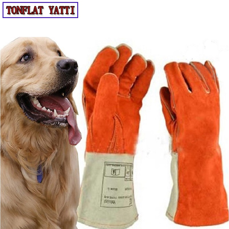 Thicken Leather Anti-bite gloves tactical animal training feeding for dog cat snake eagle bite anti-scratch protect safety glove zeacwfy1 pet dog cat protective anti bite beauty cover white