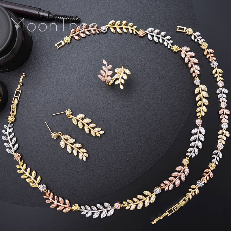 MoonTree Cubic Zirconia Luxury Exclusive Leaf Leaves African Wedding Engagement Bridal Necklace Bracelet Earring Ring Set