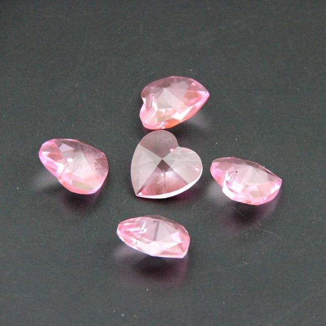 28mm Pink 50pcs Heart Shape Crystal Glass Pendant For Chandelier Lighting Diy Accessories Hanging Drop Prisms