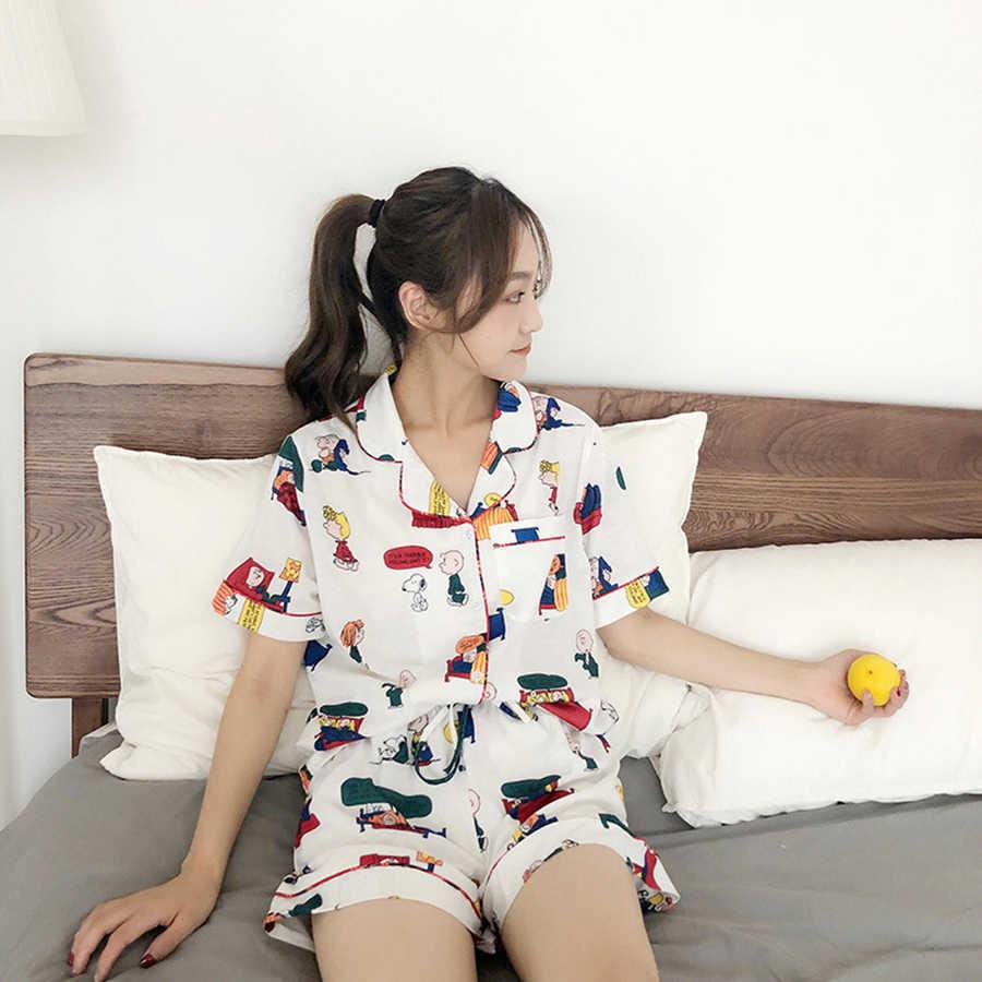 7001 Karikatür Pijama Artı Boyutu Pamuk Set Yaz Uyku Tulumu Pijama Ropa İç Iç Çamaşırı Elbise Camisa Dormir Uyku Kıyafetleri