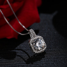 ФОТО 925 silver big square cubic zirconia pendant short female necklace crystal silver color party new gift