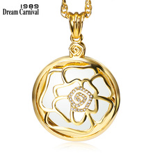 DC1989 Romantic Rose Slide Cover Library Reading Gold Platinum Plated Pendant Necklace 2X Zoom Magnifier Optical Chain P-0032