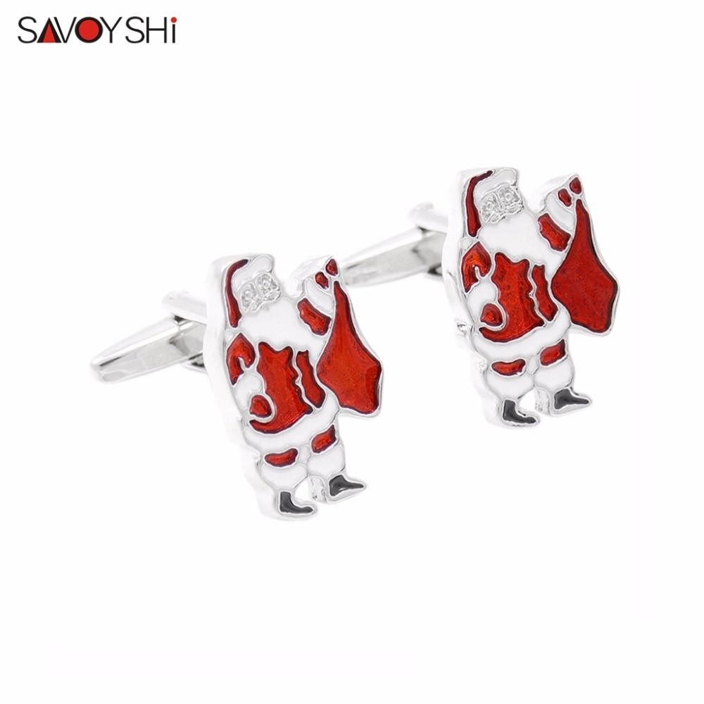 SAVOYSHI Brand Jewelry Santa Claus modeling Cufflinks for Mens Cuff Novelty High Quality Enamel Cufflinks Popular Christmas Gift